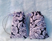 Handmade Pink Rose Pouches / Padded Pipe Bag / Drawstring