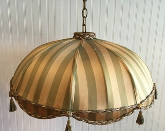 SILK VICTORIAN SWAG Lighting with Tassels Green and Beige Striping, Palm Beach Chic, Art Nouveau, Hollywood Regency at Ageless Alchemy