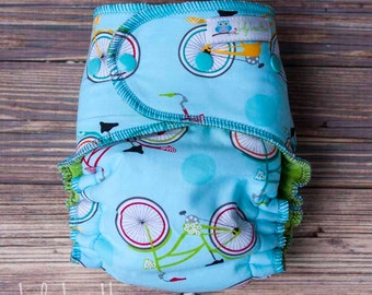 """Serged Hybrid Fitted Cloth Diaper- """"Bikes"""" woven"""