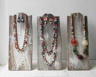 One Rustic Necklace / Earring Display - Distressed Brown and White - Salvaged Wood
