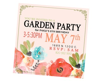 ADORABLE Garden Party / Shower Invitation