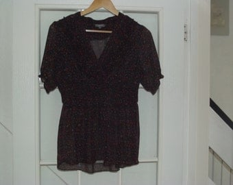 Vintage Purple and Brown Sheer Blouse Uk 12 USA 8 1980's