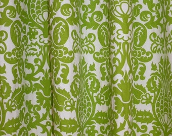 "Summer Sale CUSTOM DRAPERIES - A pair of Custom Curtains Amsterdam Chartreuse Green and White Background 50"" wide X up to 108"" Long"
