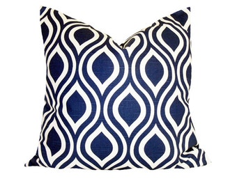 PILLOW and SHAM Cover - Pillow Cover King Queen Euro Reg. 12 16 18 20 24 26  DecorativeThrow Pillow Nicole Navy Blue and White