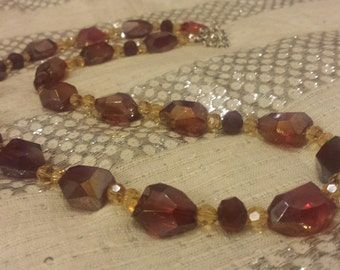 Stunning Extra Long Red Irregular Shaped Large Beaded Necklace with Yellow and Red Swarovski Crystal Spacers and a Decorative Toggle Closure