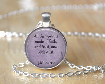 Peter Pan Necklace - Book Necklace - Book Quote Necklace - Custom Necklace - Customizable Necklace - Quote Necklace - Fairy Necklace  T1203
