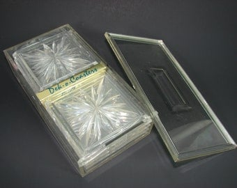 8 Lucite Coasters, Vintage Acrylic Coasters in Original Box, Dek-o-Coasters by Colony, Starburst Square