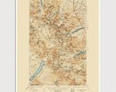 Glacier National Park Map Art Print 1938 Old Antique Map Archival Reproduction - USGS Topographic Map