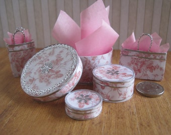 12th Scale Dollhouse Shabby Chic 5 Piece Hatbox, Gift Box and Gift Bag Set in Pink  and White