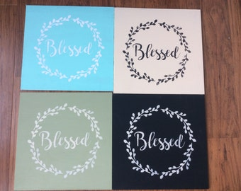 Hand painted Blessed wreath sign