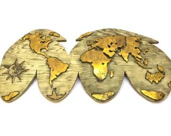 Brutalist World Map Art Piece