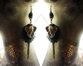 vegan leather, ganesh feather drop earrings, bicycle inner tube, one of a kind, natural eco friendly jewelry, elephant, ornate earrings