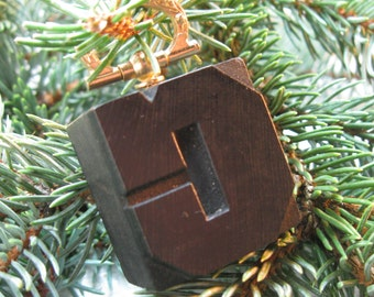 Vintage wood type Upper Case C ChristmasTree Ornament. Beautiful old wood type letter with brass hanger!