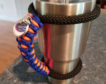 RTIC/YETI Tumbler Handle in Florida Gator colors with Gator Tag and charms