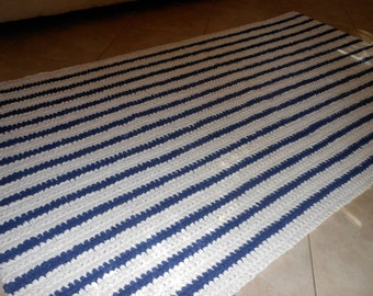 Ready to Ship Crochet 4x6.5 foot Nautical Nave White Striped Rug, Rag Rug, Coastal Chic Rug, Featured in 'Big Hook Rag Crochet' Book