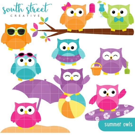 SALE Summer Owls Beach Beach Ball Cute by SouthStreetCreative