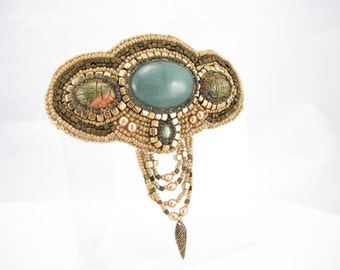 Barrette-Green and gold Ukanite cabochons,-green natural stone cab-labradorite cab-champagne pearls-unique hair piece-rockhound jewelry