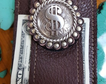 Dollar Sign Concho front Pocket Wallet