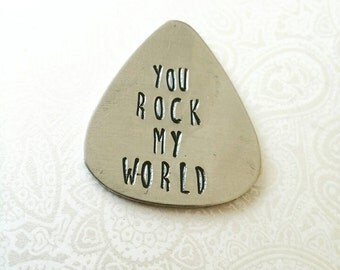 You Rock My World Guitar Pick, Gift for Him, Gift for Boyfriend, Gift for Husband