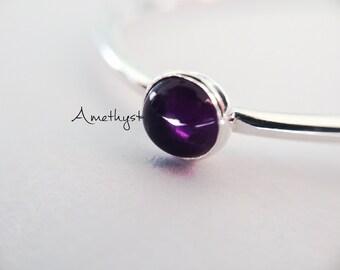 SALE-Amethyst Stacking Ring, Amethyst Ring, Natural Gem Ring, Feburary Birthstone, Amethyst, Gemstone Stacking Ring, Purple, Amethyst, Gift