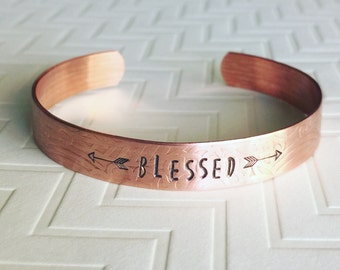 Blessed Bracelet - Arrow Bracelet - Embossed Copper Cuff Bracelet - Hand Stamped Bracelet - Personalized Bracelet - Gift For Her