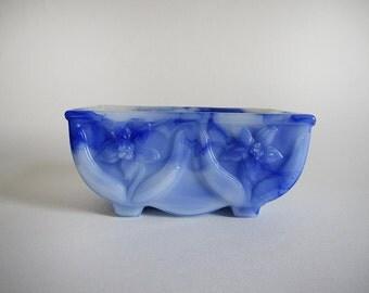 vintage slag glass planter in blue