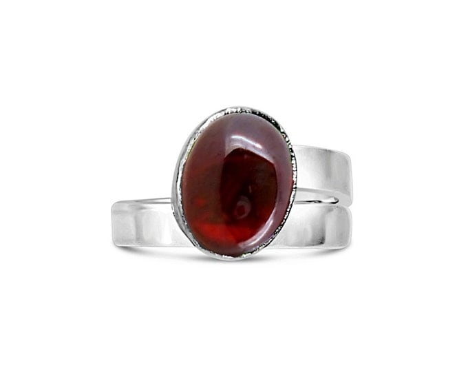 Garnet and Sterling Silver Adjustable Ring