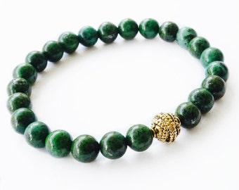 "8mm ""Hunter"" Natural Green Pietersite  & 14KT Gold Plated Space Bead Bracelet"