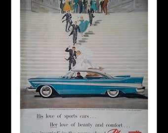 Plymouth Fury 57 Married Like a Movie.  Pastel Blue Plymouth Front of Church Newlyweds Jubilant Runnin New Coolest Sedan Ready for Framing.