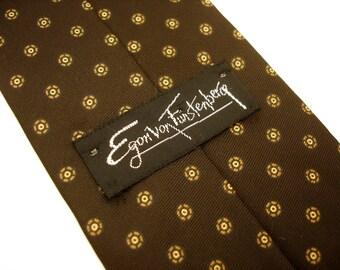 1970s Von Furstenberg Tie Mens Vintage Brown Disco Era High Fashion Necktie by Egon von Furstenberg