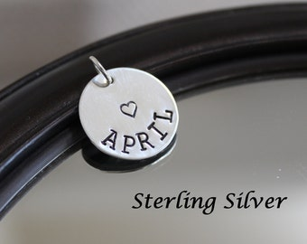 Sterling silver name charm, name tag, personalized name pendant 18mm round