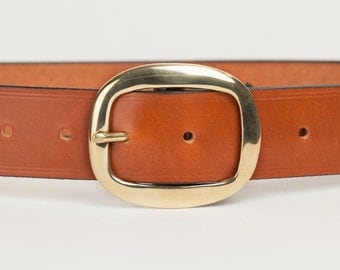 Tan Bridle Leather Belt with 1.5 inch Oval Buckle