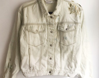 Calvin Klein Jean Jacket Bleached Out Distressed Size Medium