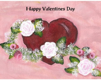 Heart and Rose Vine Valentine Greeting Card