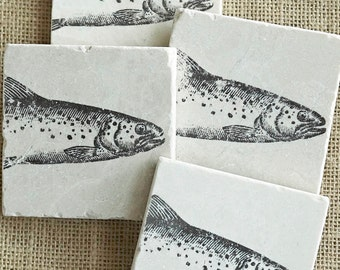 Trout Fish- Coasters, Cabin Decor, Trout Decor, Fish Decor, Cabin Gift, Fish Gift, Fisherman Gift, Trout Gift, Fishing Decor, Trout, Fishing