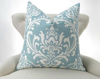 Blue Damask Pillow Cover -MANY SIZES- Egg Blue Euro Sham, Light Blue Cushion, Ecru/Off-White, Ozborne Village Premier Prints, FREESHIP