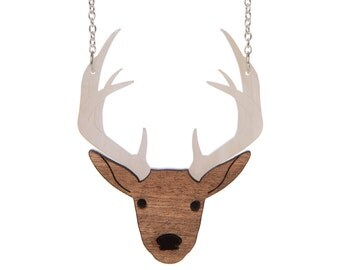 Stag Necklace - laser cut acrylic and wood