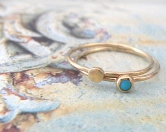 Turquoise ring - set of 2 - Orbit Collection - 9ct yellow gold rings - skinny gold rings