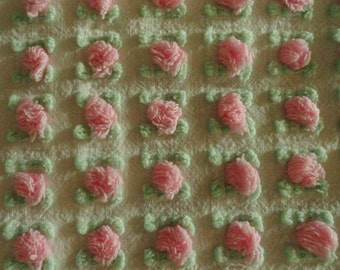 Pink Morgan Jones Rosebud Chenille Vintage Bedspread Fabric Piece...12 x 18""