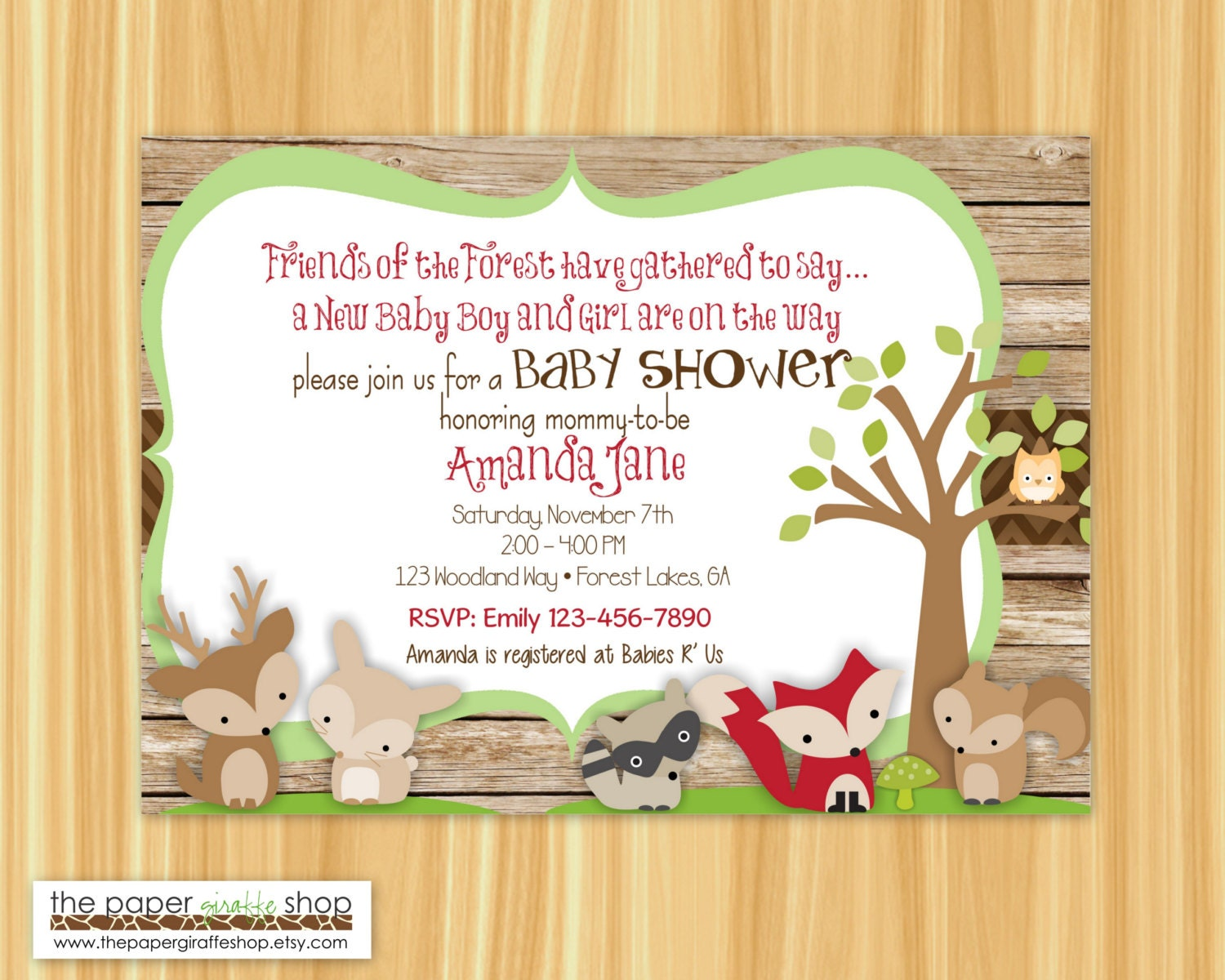 Woodland Creatures Twins Baby Shower Invitation Woodland