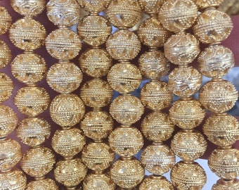 10mm round brushed, gold plated copper beads, 20 beads, filligree