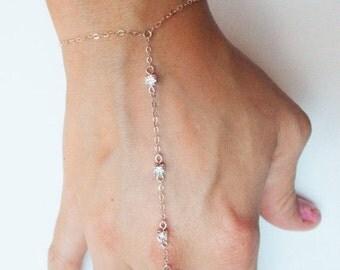 Valentines Day Gift Sale Sterling Silver Slave Bracelet with Swarovski Accents - Sterling Silver Hand Chain - 3 Stone Slave bracelet - Hand
