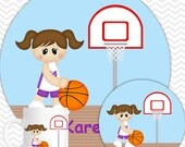 Basketball Girl Plate & Bowl Set - Personalized Basketball Plate Set - Customized Plate and Bowl - Melamine Plate and Bowl Set for Kids