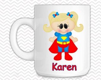 Supergirl Kids Mug - Personalized Supergirl Mug - Customized Mug - Melamine Cup - Personalized Kids cup