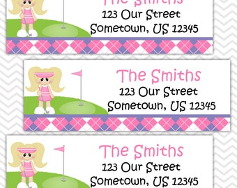 Golf Girl - Personalized Address labels, Stickers