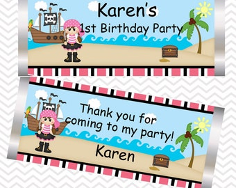 Pirate Girl - Personalized Candy Bar Wrapper