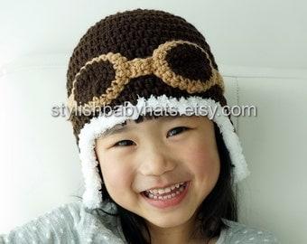 Aviator Hat, Brown, Crochet Baby Hat, Eskimo Hat, Pilot Hat, Bomber Hat, Baby Hat, photo prop