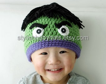 Hulk Hat, Avengers, Crochet Baby Hat, Baby Hat, photo prop, Inspired by Incredible Hulk