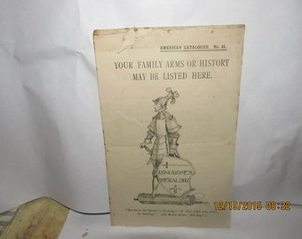 Early American Catalogue Ringrose's Heraldry Coat of Arms Geneology Pamphlet