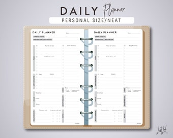 Personal Size DAILY PLANNER - Planner Inserts - Neat Theme - Printable PDF - fits Filofax Personal, Kikki K Medium